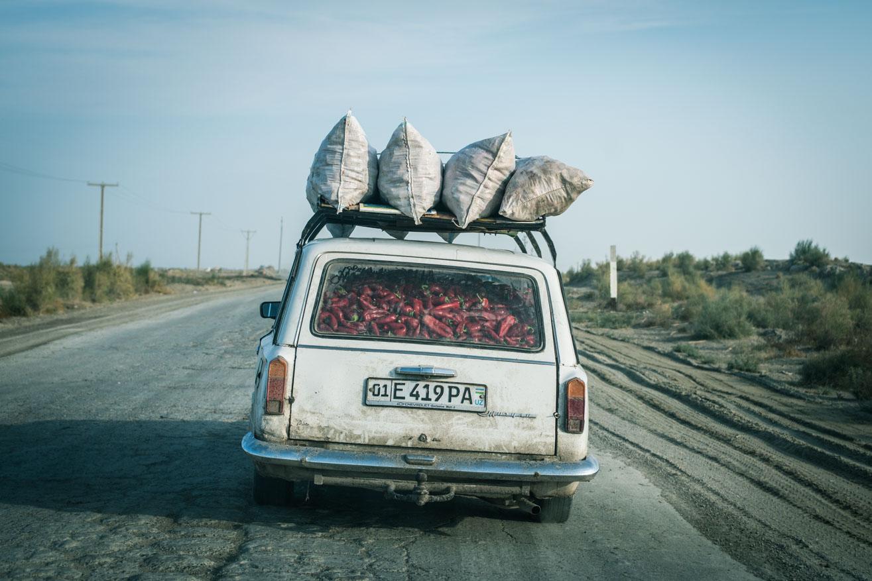 voiture piment désert ouzbekistan kirghizstan ex-URSS Asie centrale olivier octobre photographe documentaire reportage